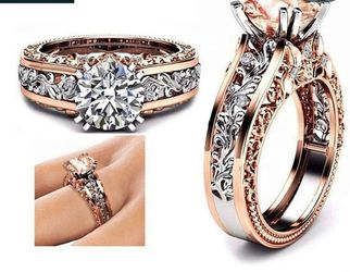 *NEW ARRIVAL* Filigree Rose Gold White Sapphire Engagement Wedding Ring Sizes 5/8/9/10 and 11 *See My Other 800 Items* for Sale in Palm Beach Gardens,  FL