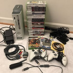 Xbox 360 system console 60gb with 28 video games 2 wired controllers cables clean tested works great for Sale in Burtonsville, MD