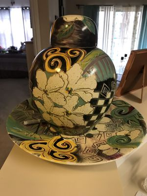 Ceramic Vase and Plate for Sale in North Bethesda, MD