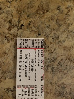Floor Disturbed Three Days Grace Tickets 2/21/2019 for Sale in Herndon, VA