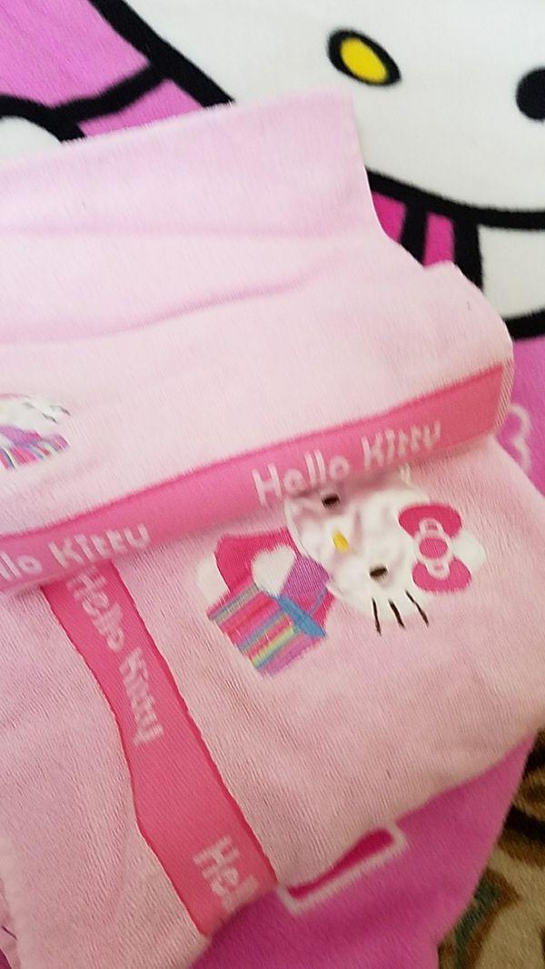 Hello Kitty Ready Bed/Sleeping Bag; Hello Kitty Clock Radio night light alarm.clock,.Hello Kitty towel ensemble, Hello Kitty trash can All for $20