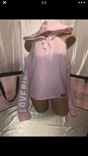 Victoria's Secret pink Cold Shoulder Hoodie pink logo sleeve nwt for Sale in Shelby Charter Township, MI