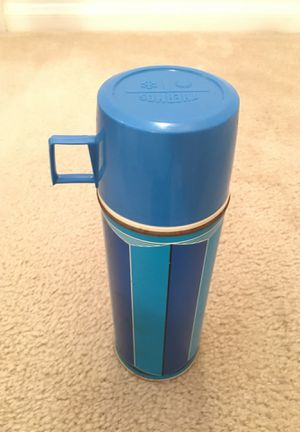 Thermos with cup dark blue/ light blue glass liner Antique decorative item for Sale in San Diego, CA
