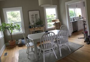 Farmhouse table, 4 chairs, and a bench for Sale in Portland, OR