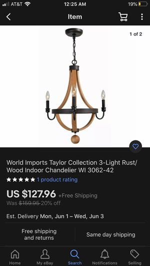 3-light wood indoor chandelier 🖤 for Sale in Lakewood, CA