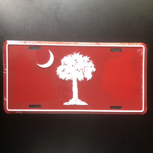Metal South Carolina SC Front License Plate Tag - RED
