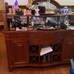 Entertaining With Silverware Drawer Wine Bin 3 Other Drawers 2 Storage Closets Plus Hang Ing Slots To Hang Glass Es for Sale in Monroe Township,  NJ