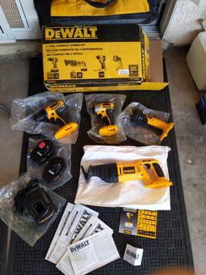Dewalt 18V 4piece set , impact drill, drill , sawzall, flashlight, two batteries , charger, carry bag, manuals for Sale in Las Vegas, NV