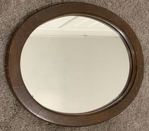 VINTAGE WOOD WALL HANGING OVAL FRAME WITH MIRROR HOME DECORATION ACCENT for Sale in Chapel Hill, NC