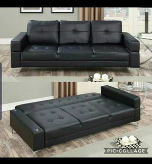 Sofa sleeper bed black leather new for Sale in Buena Park, CA