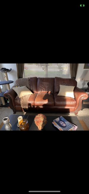 Brown Leather Couch for Sale in Riverside, CA
