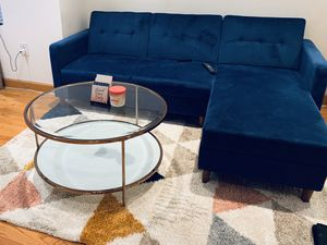Sleeper Sectional with storage chaise (Blue) for Sale in Washington, DC