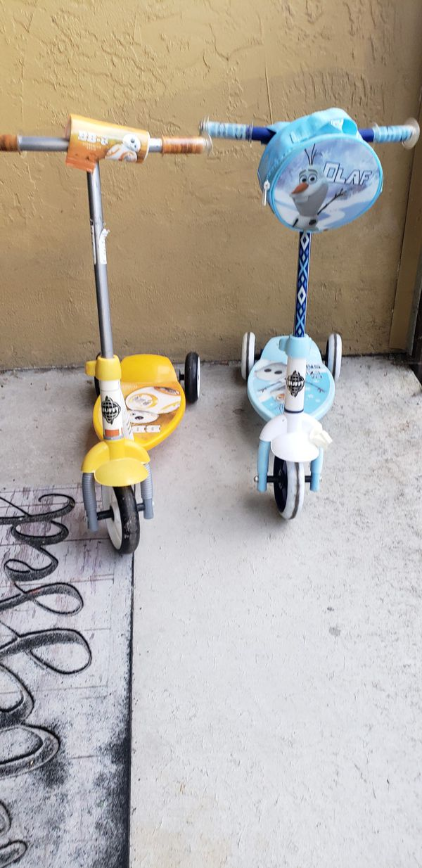 Free toddler scooters. One is olaf, one is star wars. Working well. Kids outgrew them
