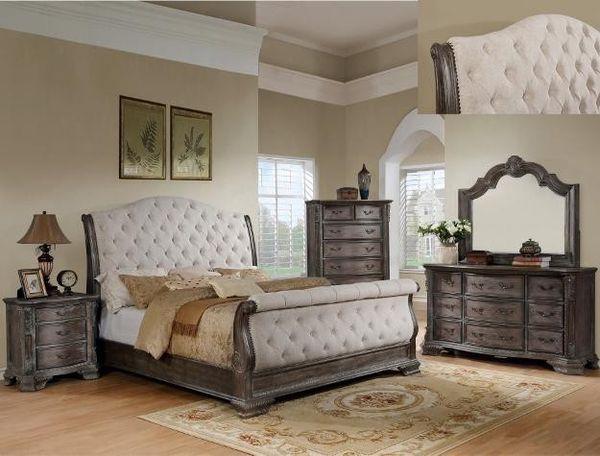 SPECIAL] Sheffield Antiqsjsjjsue Gray Sleigh Bedroom Set