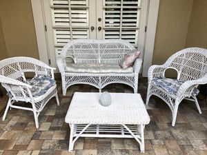 Patio furniture white wicker for Sale in Pinellas Park, FL