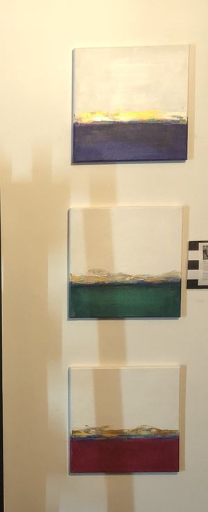 Modern abstract art painted by local artist . $125 each or $300 for all 3. (2nd set) for Sale in Sewickley, PA