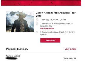 Jason Aldean/ Kane Brown Tickets for Sale in Scranton, PA