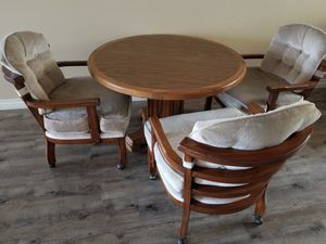 Antique Dining Table that extends with 3 chairs for Sale in Vista, CA