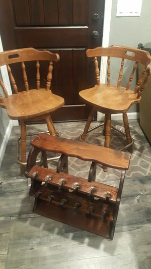 Pair of beautiful bar stools plus wine rack $140 for Sale in Castro Valley, CA