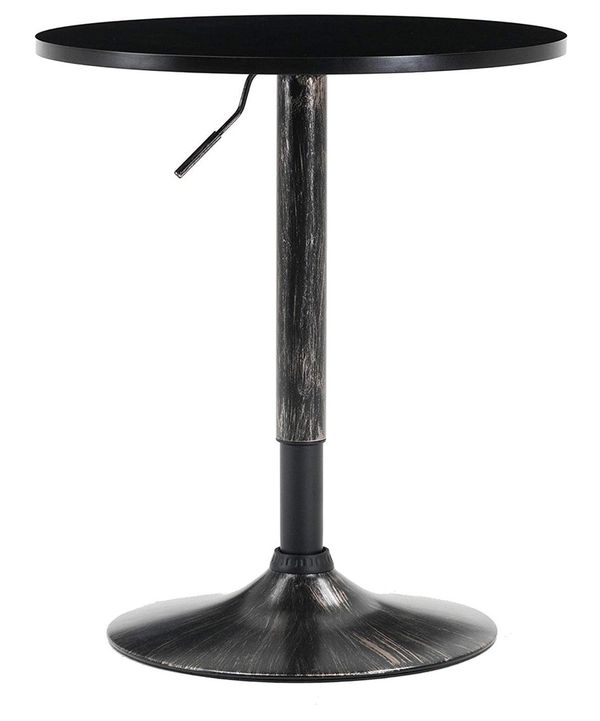 "BTEXPERT Industrial Adjustable 27-36"" Height Metal Bar Table Swivel Round MDF Wood Top Cocktail Pub Bistro Antique Golden Black Rustic Base"