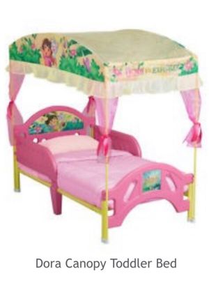 Dora the explorer toddler bed w/ mattress and matching curtains, sofa & soft potty seat for Sale in Fairfax, VA