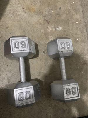 60 Lb Dumbbells 1 Pair for Sale in Dallas, TX