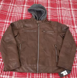 Guess Brown Faux Leather Moto Jacket Large New with tags for Sale in Los Angeles, CA