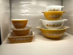 Pyrex Butterfly Gold Cinderella Bowls and Refrigerator Dishes for Sale in Universal City, TX