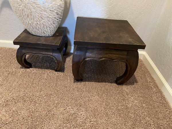 Heavy wood deco stools