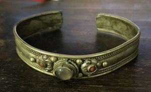 Bracelet Cuff - silver with carnelian and moonstone approx 3 inch wide and 1/2 inch wide for Sale in Henderson, NV