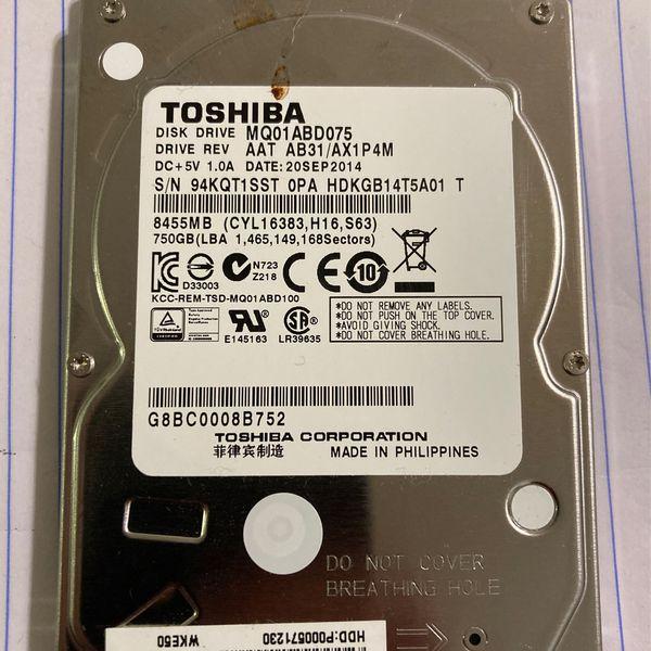 Toshiba SATA 750GB Hard Drive 7200rpm