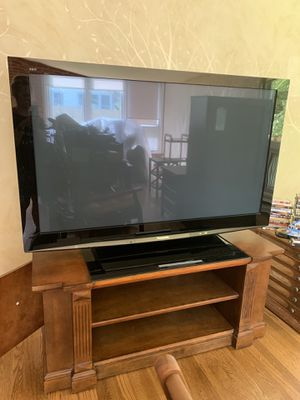 "58"" Panasonic 1080P with custom wooden TV stand for Sale in Fairfax, VA"