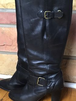 Women's CLARK'S Black Leather Tall Boots Gold Buckle Detail, 7.5M Gently used for Sale in French Creek,  WV