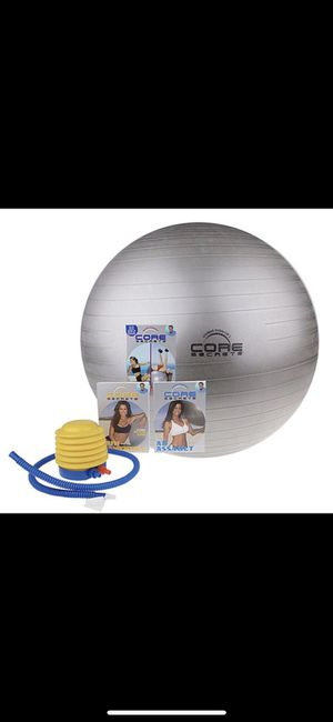 Core Secrets silver large exercise ball, air pump, workout DVDs. for Sale in Silver Spring, MD