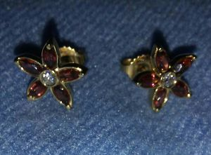 Stunning 14k Yellow Gold Genuine Garnet & Diamond Earrings!!! for Sale in Vancouver, WA
