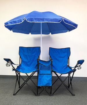 (NEW) $35 Portable Folding Picnic Double Chair w/ Umbrella Table Cooler Beach Camping Chair for Sale in Pico Rivera, CA