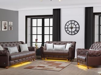 Brown Leather Sofa Set 3pc - Delivery Available 🚚 ($39 Down Payment) for Sale in Dallas,  TX
