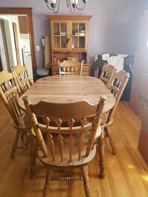 Dining table, 6 chairs and hutch for Sale in Boston, MA