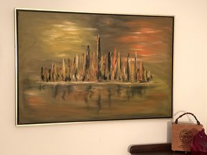 Eye-Catching 1970 Oil on Canvas Cityscape in a Floating Frame - Signed for Sale in Baltimore, MD