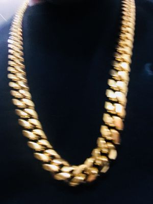 18k yellow gold plated chain heavy Miami Cuban for Sale in New York, NY