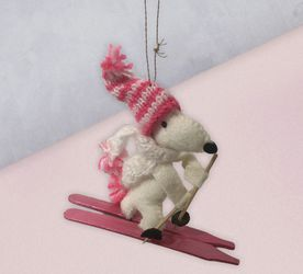 Snoopy Ornament Knit Pink Skiing Vintage Scarf Hat Beanie Peanuts Felt for Sale in Beaverton,  OR