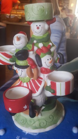 CHRISTMAS YANKEE SNOWMAN CANDLE HOLDER*EXCELLENT CONDITION * for Sale in Albuquerque, NM