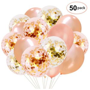 Rose Gold Confetti Balloons 50 pack, 12 Inch Latex Party Balloons with Confetti Dots for Graduation Party Supplies 2019 Decorations for Sale in Brooklyn, NY