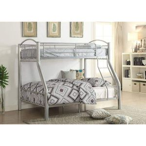 SILVER FINISH METAL FRAME TWIN OVER FULL SIZE BUNK BED / CAMA PLATEADO LITERA for Sale in Riverside, CA