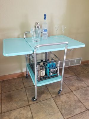 Mid-century bar cart includes wire basket for extra storage for Sale in Oshkosh, WI