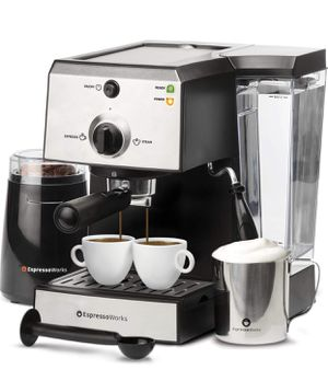EspressoWorks 7 Pc All-In-One Espresso Machine & Cappuccino Maker Barista Bundle Set w/Built-In Steamer & Frother (Inc: Coffee Bean Grinder, Milk Fro for Sale in Las Vegas, NV