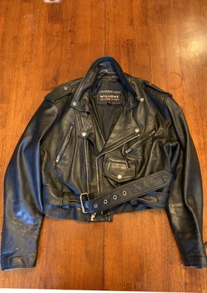 WILSONS Leather Motorcycle Jacket OPEN ROAD Moto Belted Black Size Medium for Sale in Bettendorf, IA