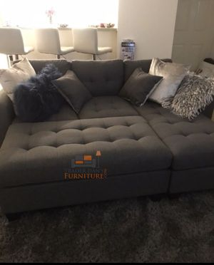 Brand New Grey Linen Sectional Sofa Couch + Ottoman (New in Box) for Sale in Wheaton-Glenmont, MD