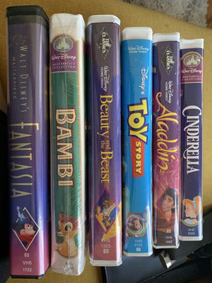 Disney VHS Collection [Fantasia, Bambi, Beauty and the Beast, Toy Story, Aladdin, Cinderella] for Sale in Los Angeles, CA