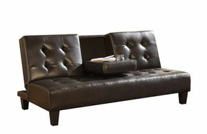 Espresso Faux Leather FUTON Sofa Bed CENTER DROP DOWN CUP HOLDER for Sale in San Diego, CA